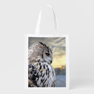 Owl portrait on winter forest background reusable grocery bag