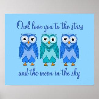 Owl Poster: Blue Owl Poster