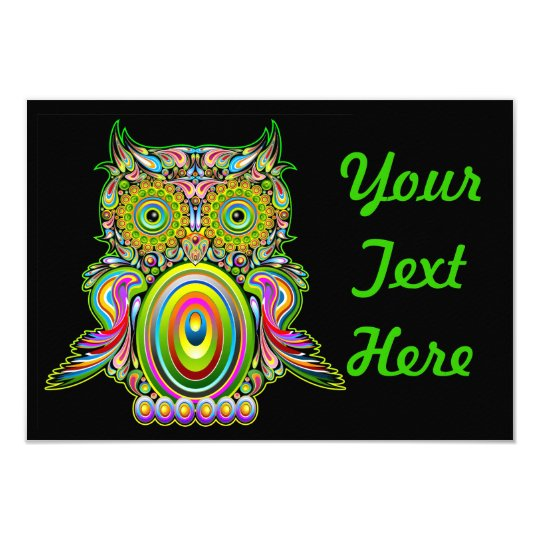 Owl Psychedelic Popart Invitation