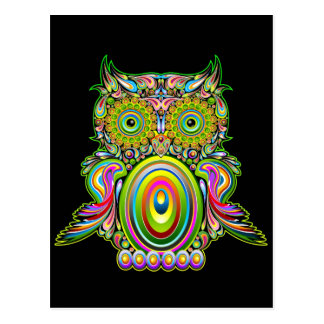 Owl Psychedelic Popart Postcard