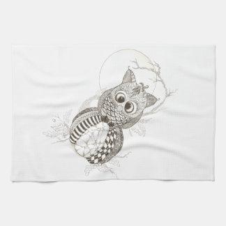 Owl Pumpkin Halloween Tea Towel
