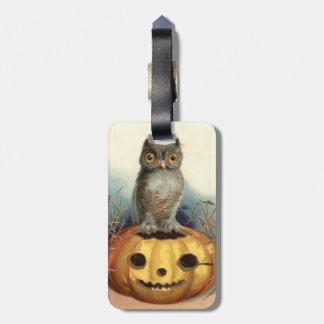 Owl Pumpkin Jack O Lantern Luggage Tag
