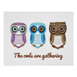 Owl Purple Blue Brown are Gathering Print