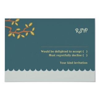 Owl & Pussycat (Blue) Wedding RSVP w/ envelopes 9 Cm X 13 Cm Invitation Card