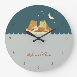 Owl & Pussycat (Sea Blue) Wallclocks
