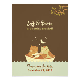 Owl & Pussycat Storybook Wedding (Blue and Brown) 11 Cm X 14 Cm Invitation Card