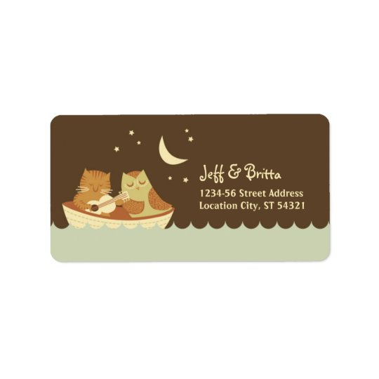 Owl & Pussycat Storybook Wedding (Blue and Brown) Address Label