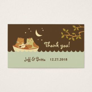 Owl & Pussycat Storybook Wedding (Blue and Brown) Business Card