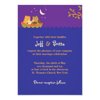 Owl & Pussycat Storybook Wedding (Purple and Blue) Card