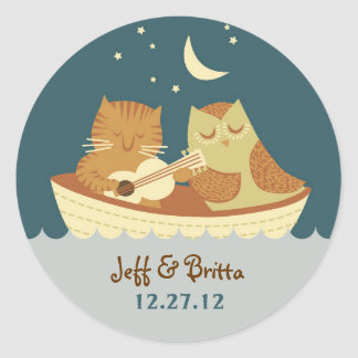 Owl & Pussycat Storybook Wedding (Sea Blue) Round Sticker