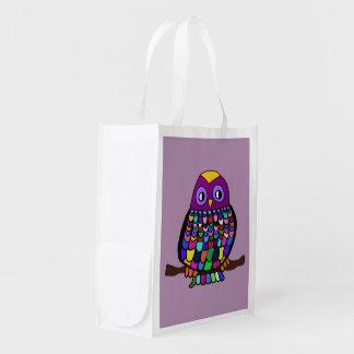 Owl Rainbow Reusable Grocery Bag