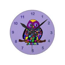 Owl Rainbow Wall Clocks