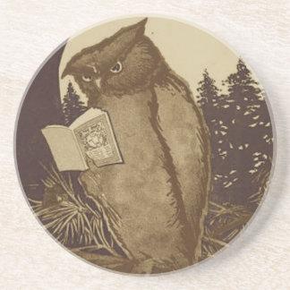 Owl Reading a Book Coaster