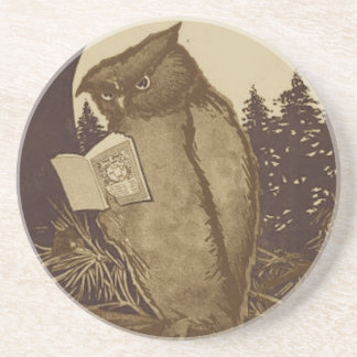 Owl Reading a Book Coasters