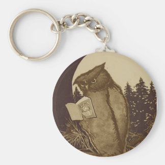 Owl  Reading by Moonlight Basic Round Button Key Ring