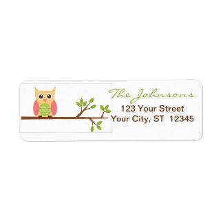 Owl return address labels - small stickers
