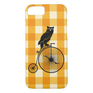 Owl Riding a Penny Farthing Bike iPhone 8/7 Case
