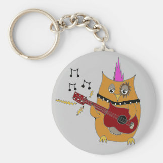Owl Right Now Baby Rocker Owl Basic Round Button Key Ring