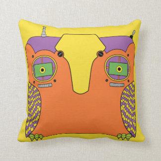 Owl Robot Orange Yellow Green Purple Cushion