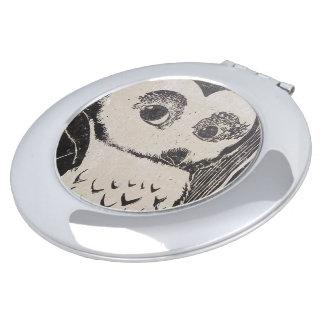 Owl Round Compact Mirror