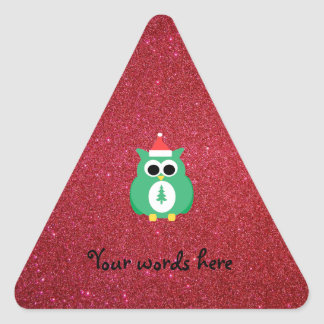 Owl santa green with red glitter triangle stickers