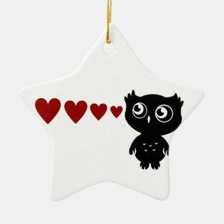 Owl Sees Love I Ceramic Star Decoration