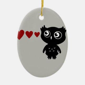 Owl Sees Love II Ceramic Oval Decoration