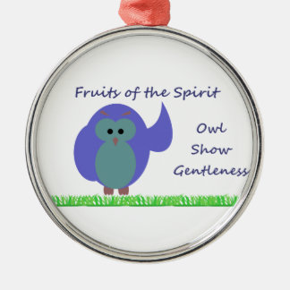 Owl Show Gentleness Premium Round Ornament