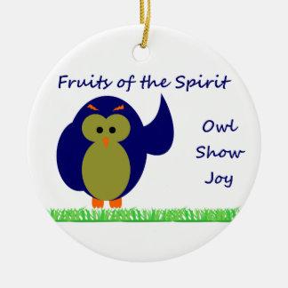 Owl Show Joy Circle Ornament