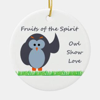 Owl Show Love Circle Ornament
