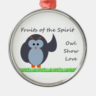 Owl Show Love Premium Round Ornament