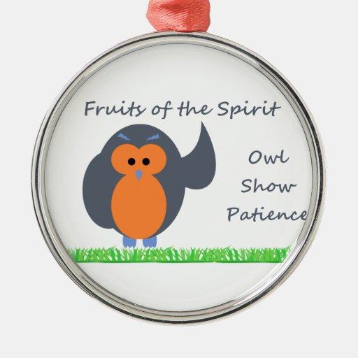 Owl Show Patience Premium Round Ornament