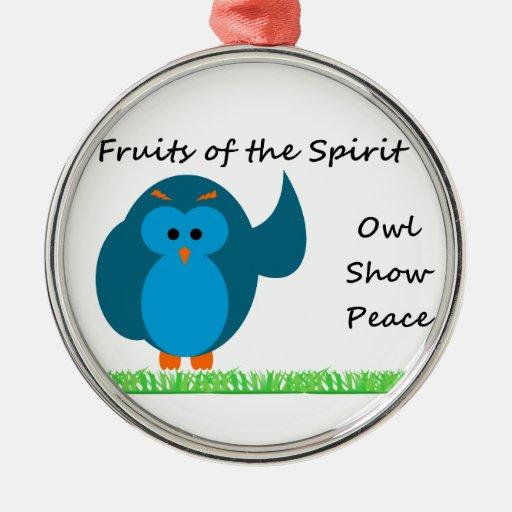 Owl Show Peace Premium Round Ornament