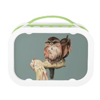 Owl Siblings Watercolor Portrait Lunch Box