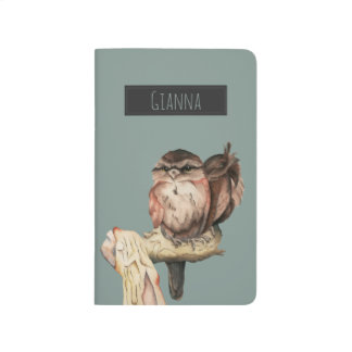 Owl Siblings Watercolor Portrait with Name Journal