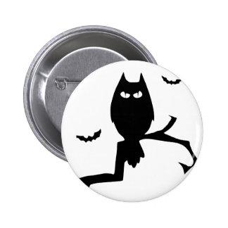 Owl silhouette 6 cm round badge