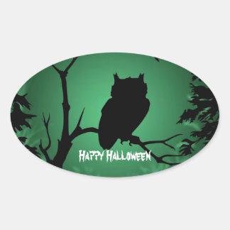 Owl Silhouette Halloween Oval Sticker