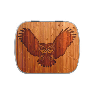 Owl silhouette in wood jelly belly tins