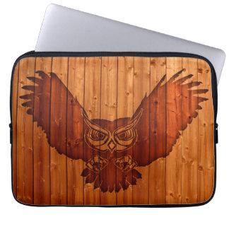 Owl silhouette in wood laptop sleeve