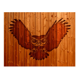 Owl silhouette in wood postcard