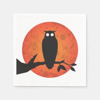 OWL SILHOUETTES FULL MOON | HALLOWEEN PARTY NAPKIN DISPOSABLE SERVIETTES