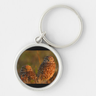 owl Silver-Colored round key ring