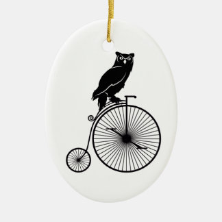 Owl Sitting on Vintage Bicycle Christmas Ornament