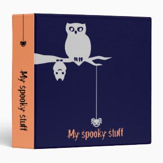 Owl, spider & bat Halloween Binder