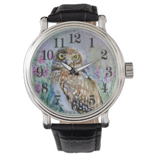 Owl spring lavender watercolor watch