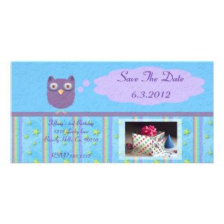 Owl Star Birthday Celebration Customized Photo Card
