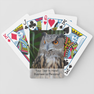 owl surprised right bird bicycle card decks