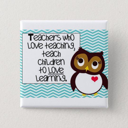 Owl Teacher Button
