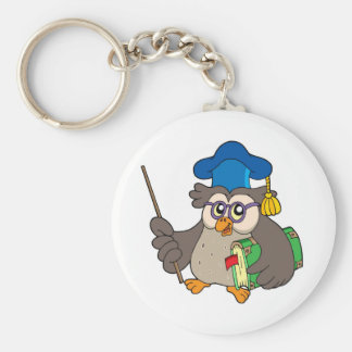 Owl teacher with book and pointer basic round button key ring