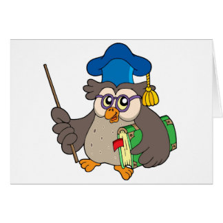 Owl teacher with book and pointer greeting card